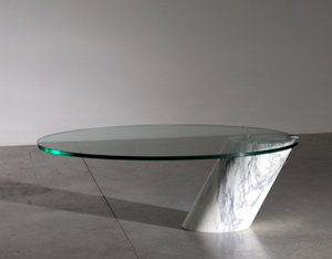 Cantilevered Carrara marble cocktail table