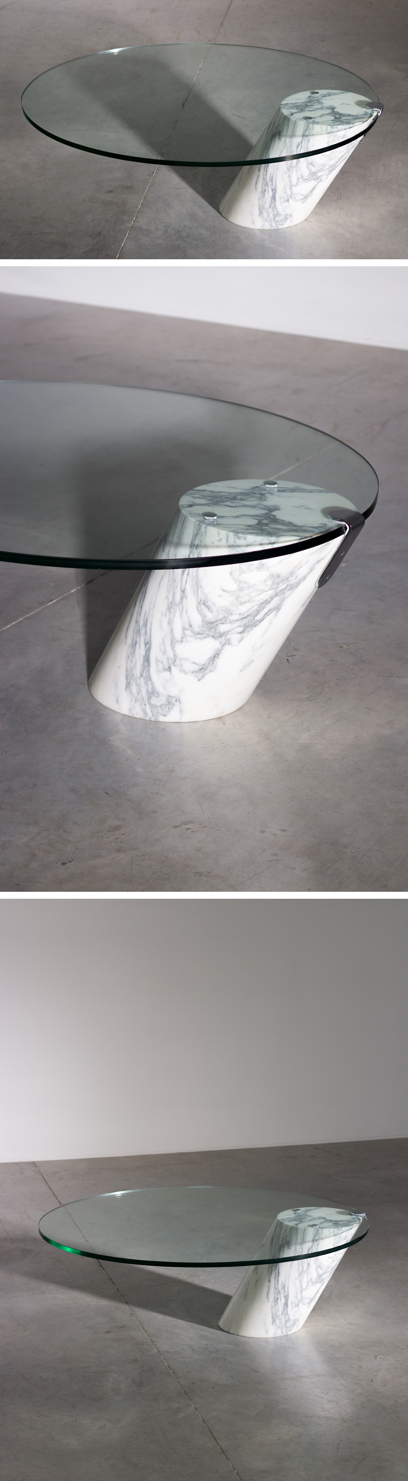 Cantilevered Carrara marble cocktail table Large