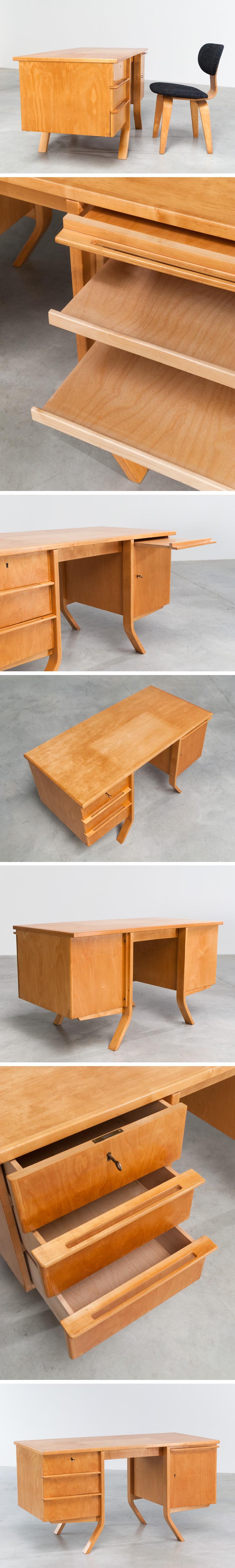 Cees Braakman Birch wood office desk UMS Pastoe Utrecht Large