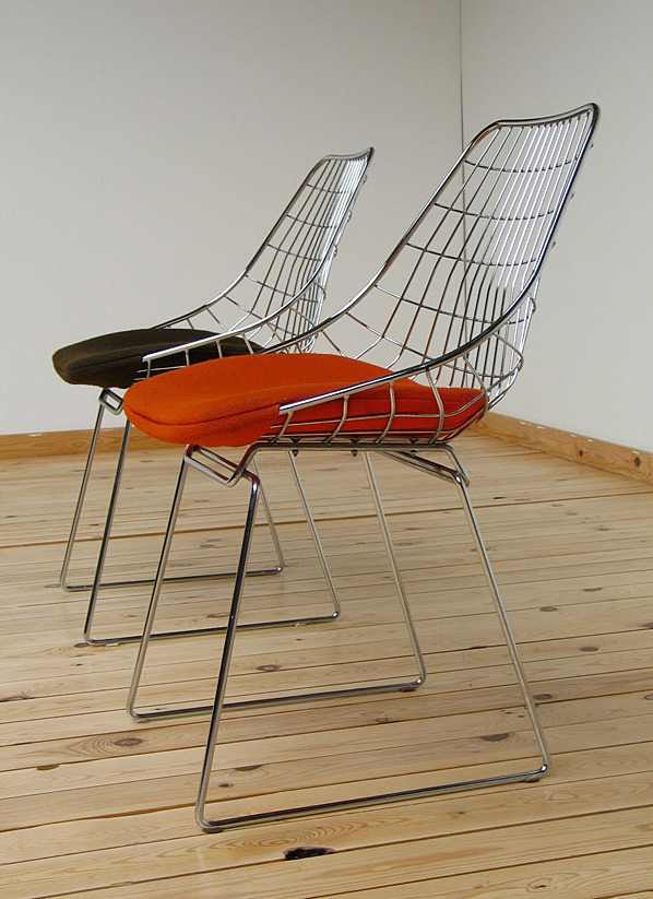 Cees Braakman UMS-Pastoe 2 chrome wire chairs 1958