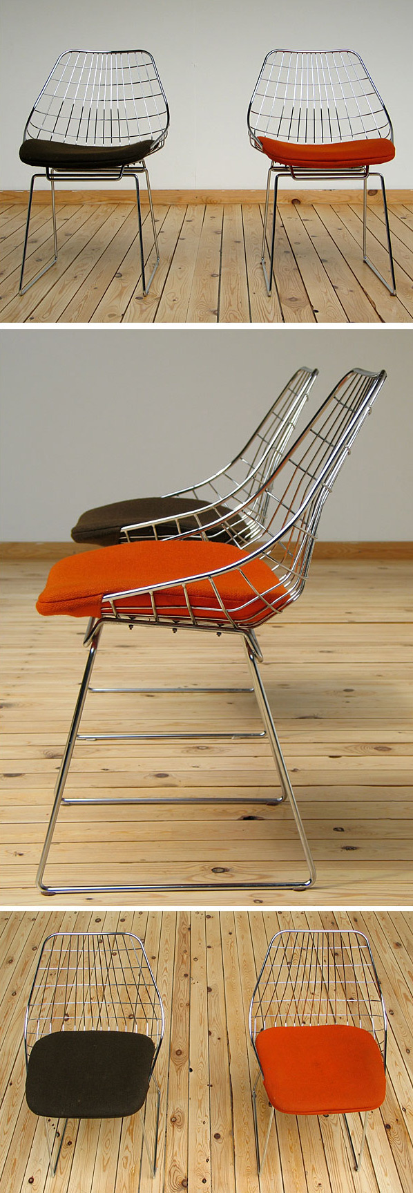 Cees Braakman UMS-Pastoe 2 chrome wire chairs 1958 Large