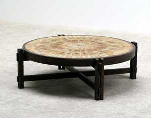 Ceramic round coffee table Roger Capron Vallauris