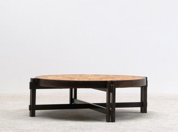 Ceramic round coffee table Roger Capron Vallauris