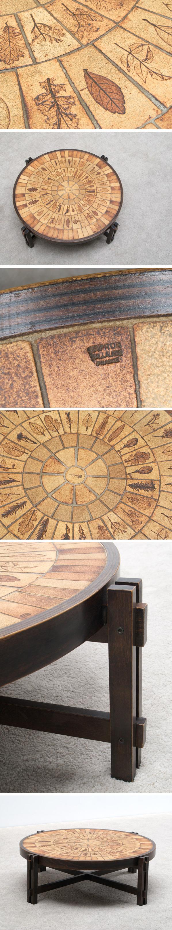 Ceramic round coffee table Roger Capron Vallauris Large