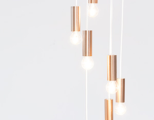Chandelier copper colored lighting by Raak Amsterdam