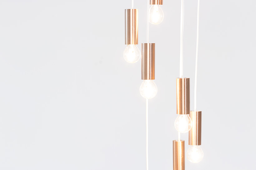 Chandelier copper colored lighting by Raak Amsterdam img 6