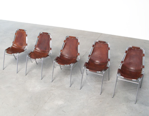 Charlotte Perriand 5 leather chairs Les Arcs Ski Resort