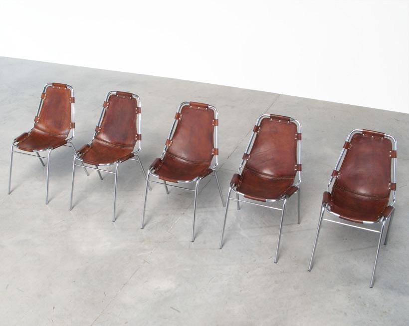 Charlotte Perriand 5 leather chairs Les Arcs Ski Resort