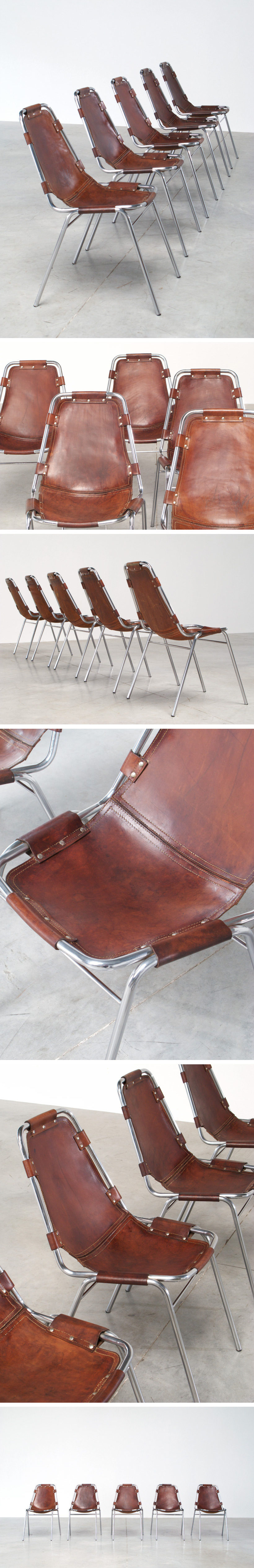 Charlotte Perriand 5 leather chairs Les Arcs Ski Resort Large
