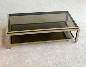 Chrome and Brass Coffee table Jean Charles