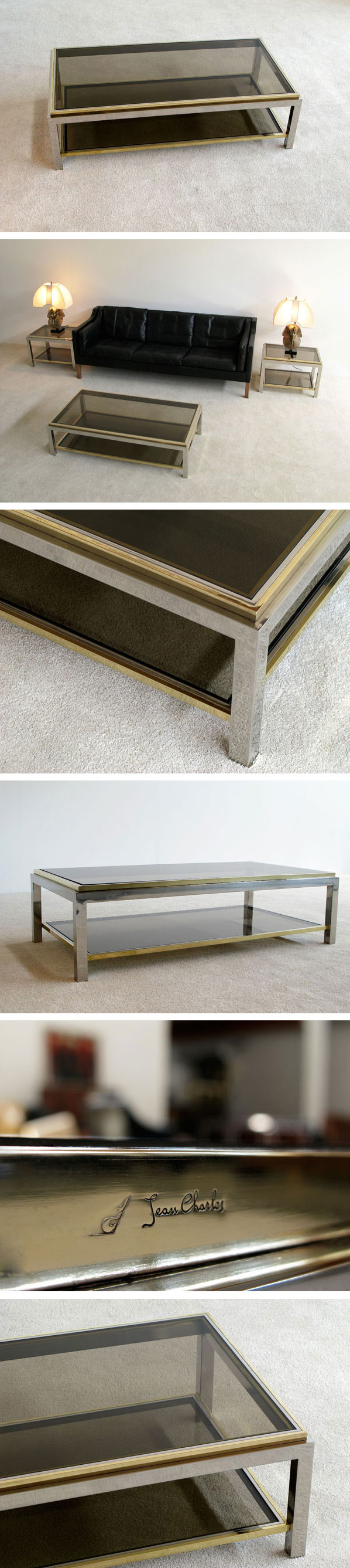 Chrome and Brass Coffee table Jean Charles Large