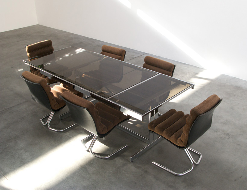 Chrome dinning table and 6 chairs circa 1970