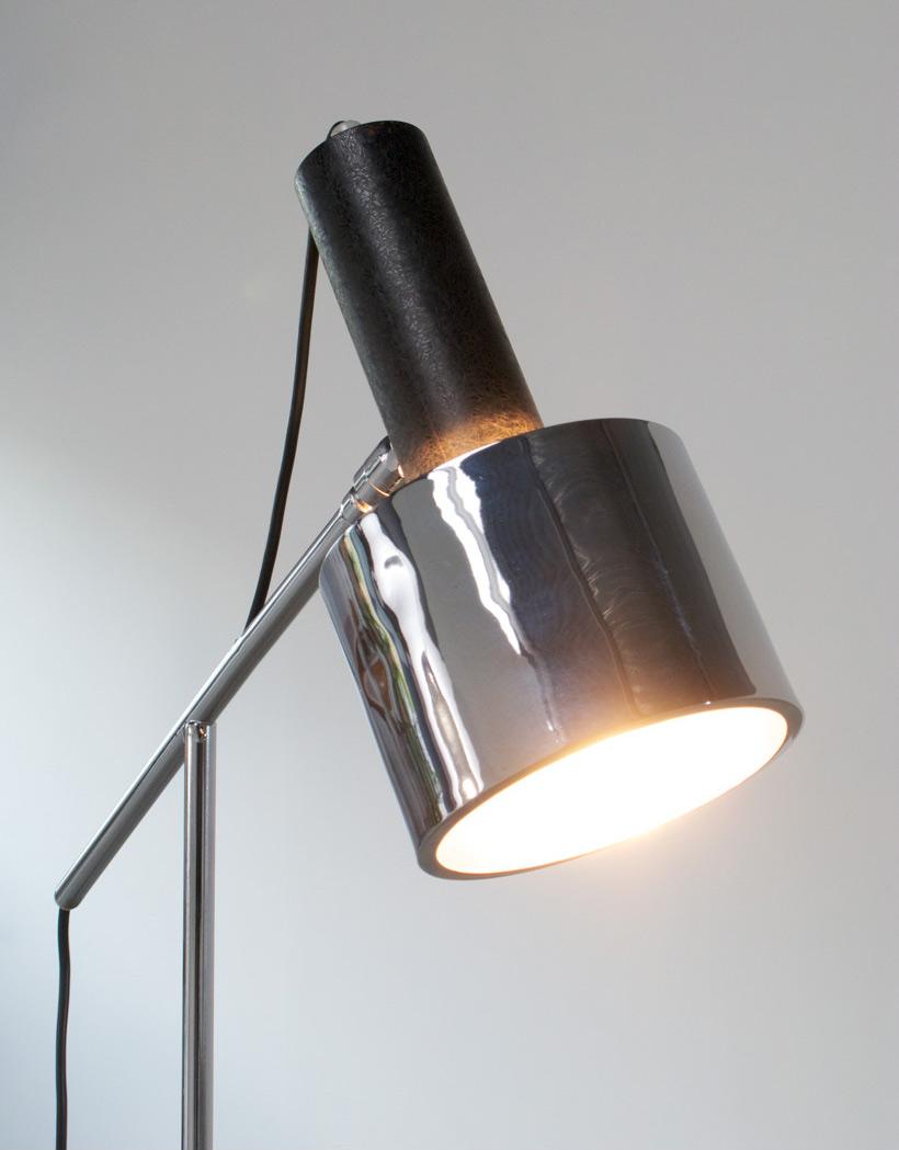 Chrome floor lamp reading lamp circa 1970