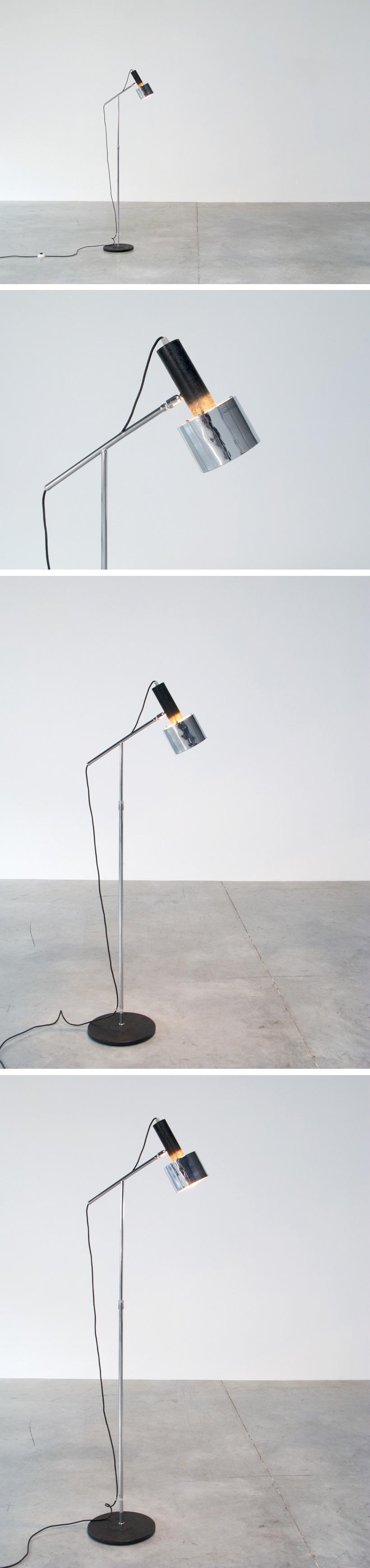 Chrome floor lamp reading lamp circa 1970 Large