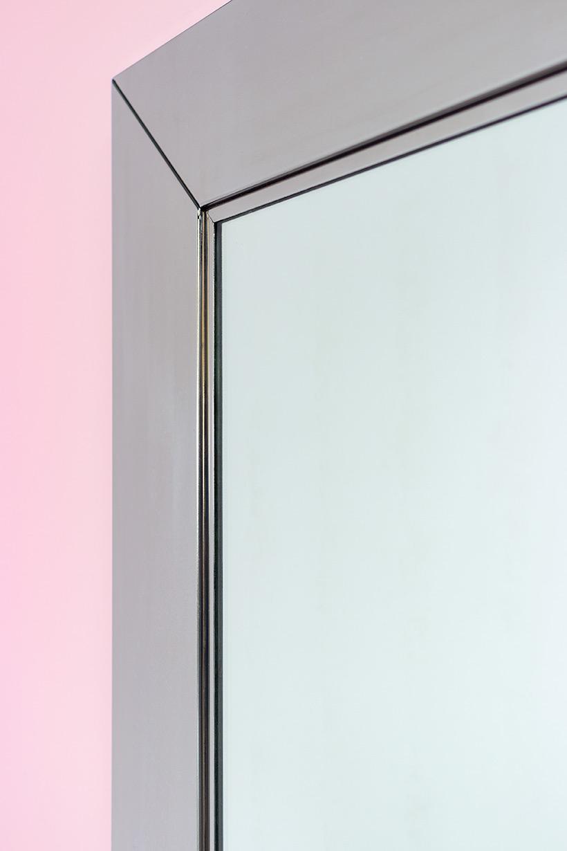 Cidue chrome decorative modern mirror Italy 1970s img 6