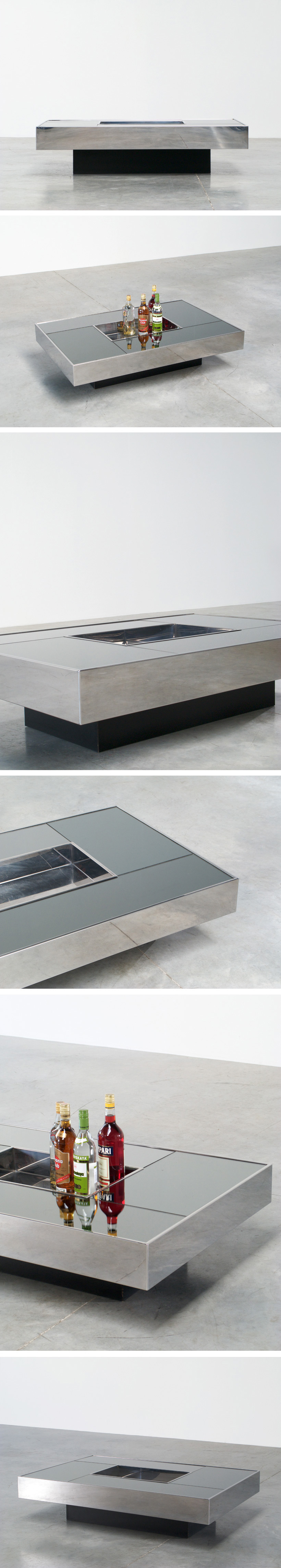 Cidue Cocktail table with mirror top central planter Large