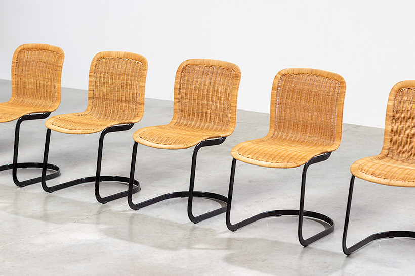 Cidue set of six cane dining chairs Italy 1970s img 3