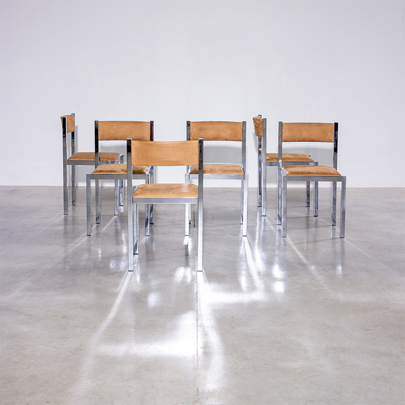 Cidue set of six chrome dining chairs Italy 1970s