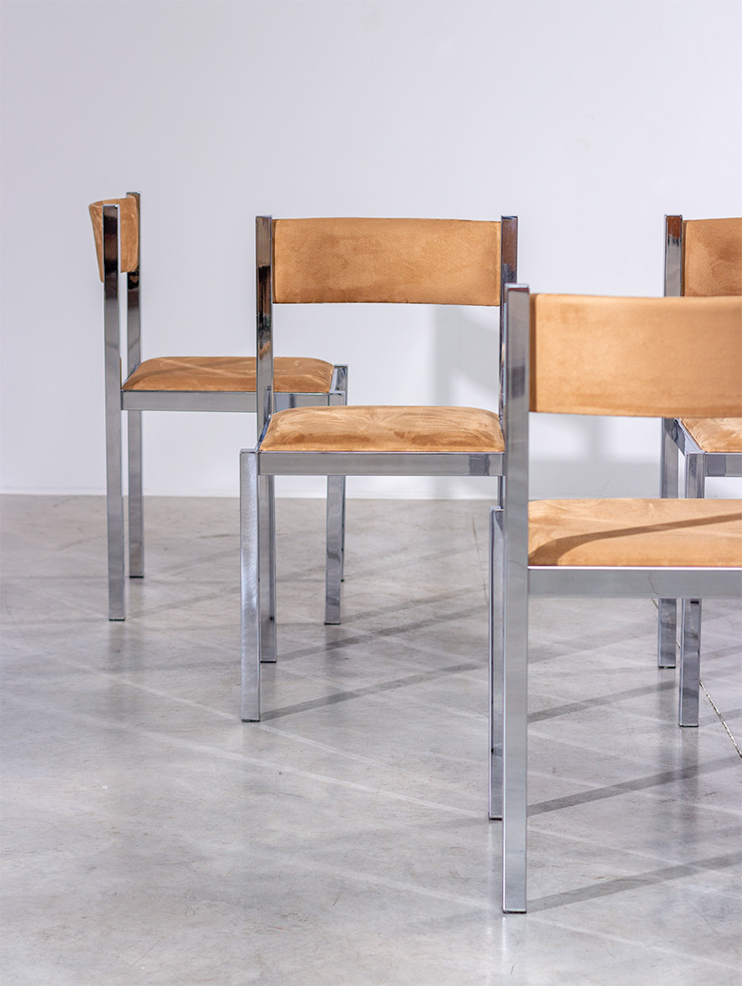 Cidue set of six chrome dining chairs Italy 1970s img 3