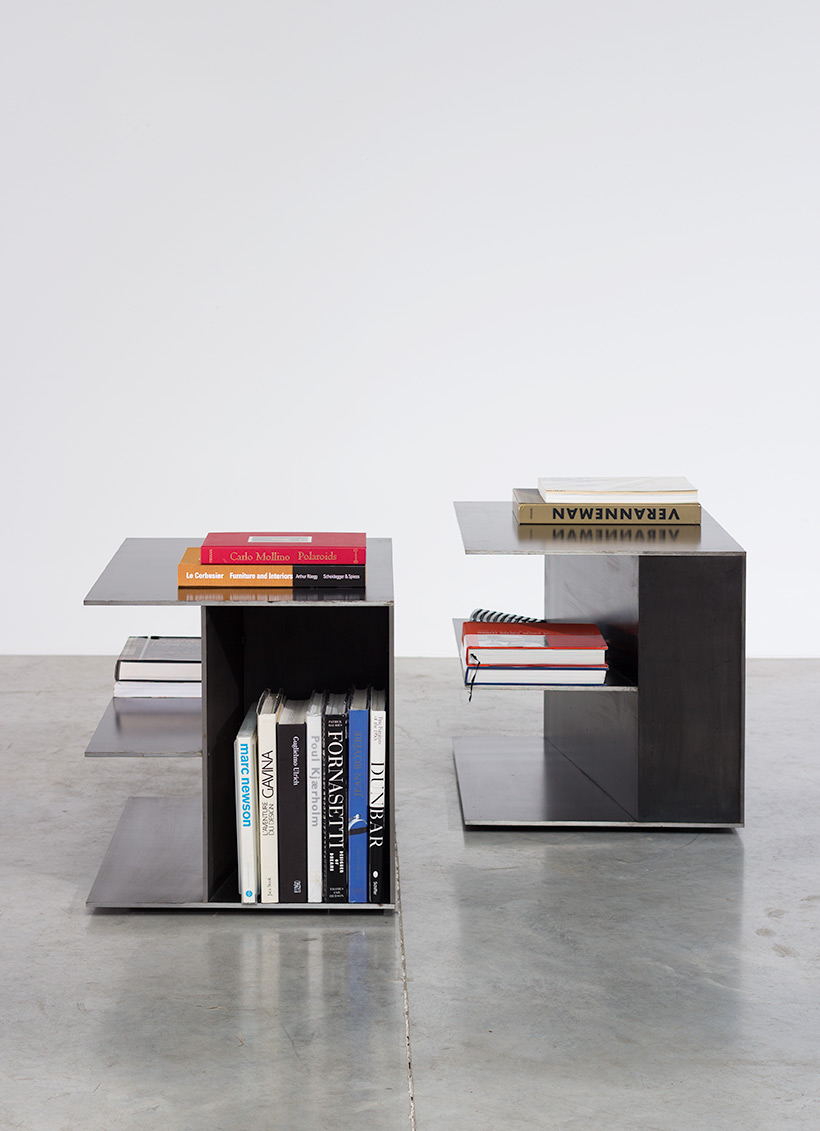 Claire Bataille pair plain steel side tables circa 1985