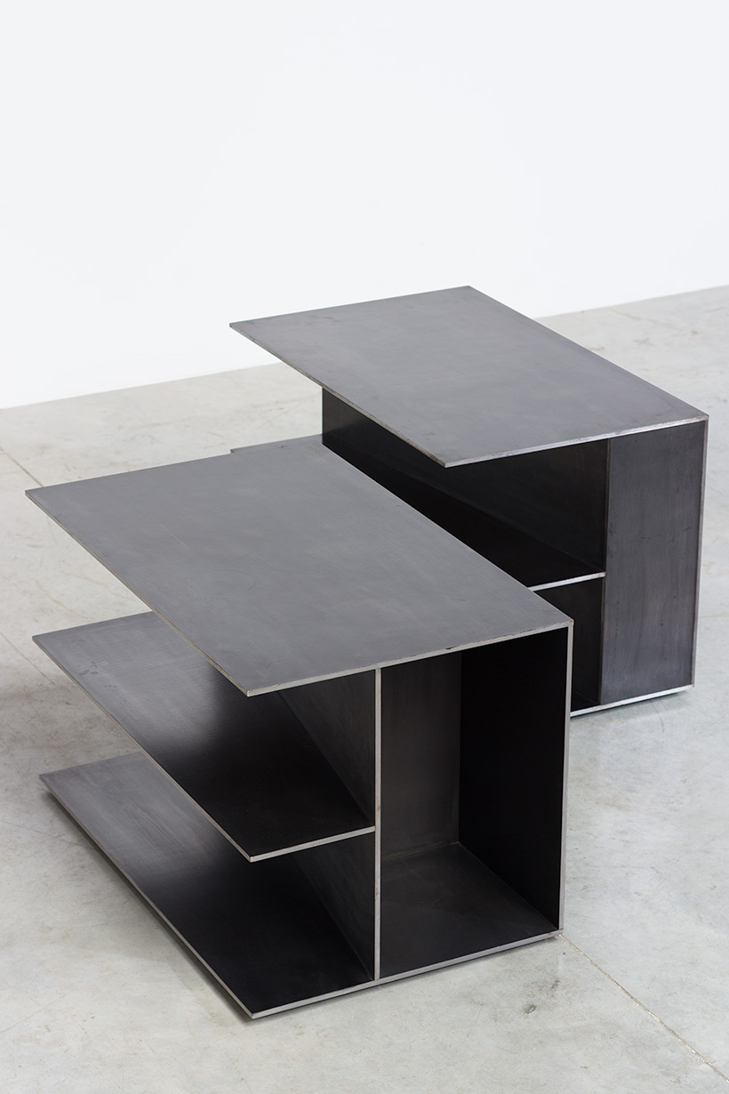 Claire Bataille pair plain steel side tables circa 1985 img 5