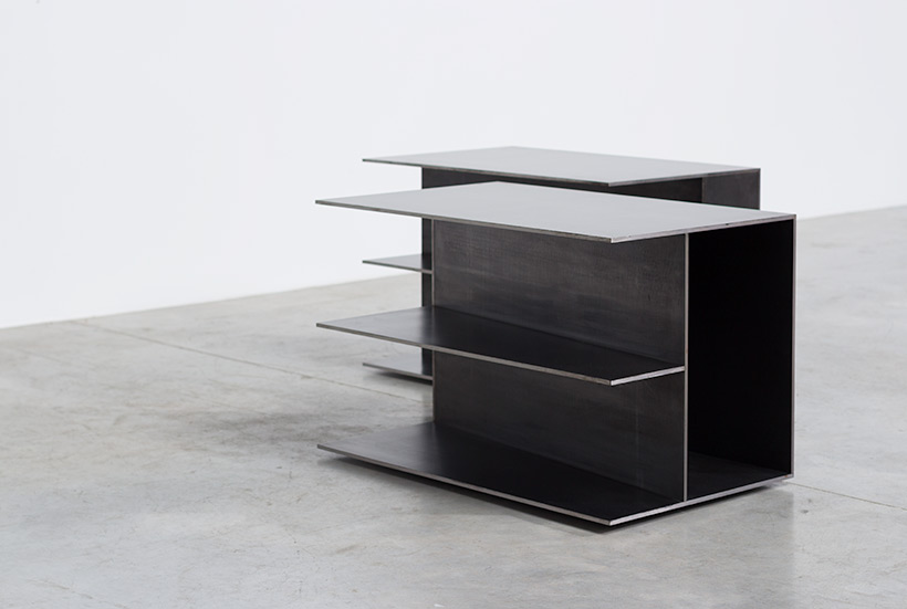 Claire Bataille pair plain steel side tables circa 1985 img 6
