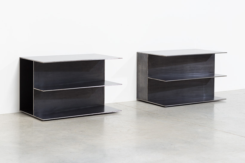 Claire Bataille pair plain steel side tables circa 1985 img 7