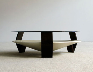 Coffee table with smoke glass top