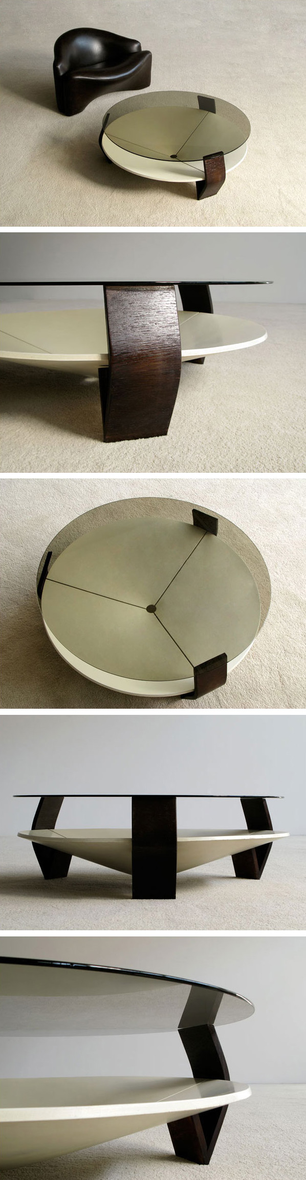 Coffee table with smoke glass top Large