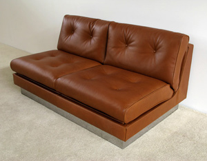 Cognac leather 2 seater sofa bed Pierre Folie Charpentier