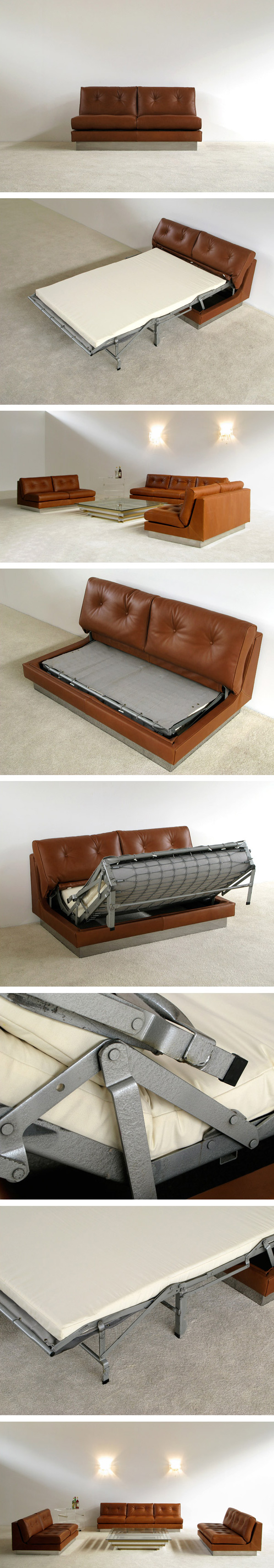 Cognac leather 2 seater sofa bed Pierre Folie Charpentier Large