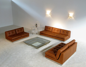 Cognac leather living scape Sofa 3 + 2 Pierre Folie Charpentier