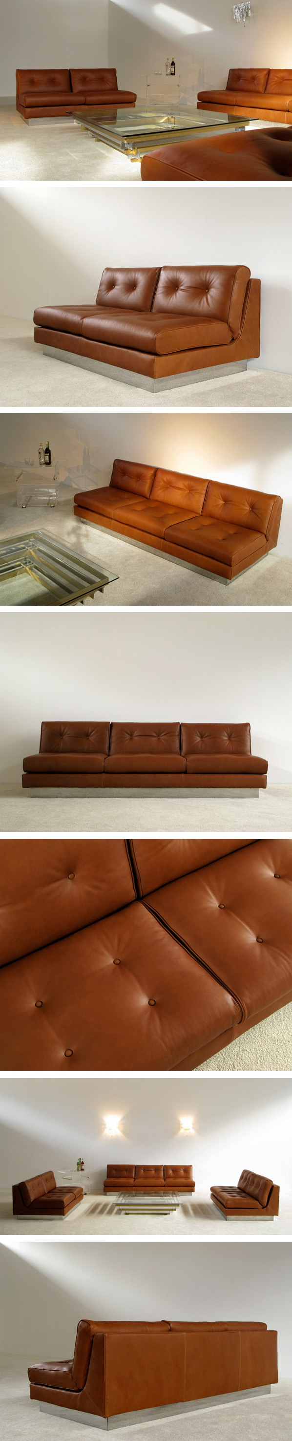 Cognac leather living scape Sofa 3 + 2 Pierre Folie Charpentier Large