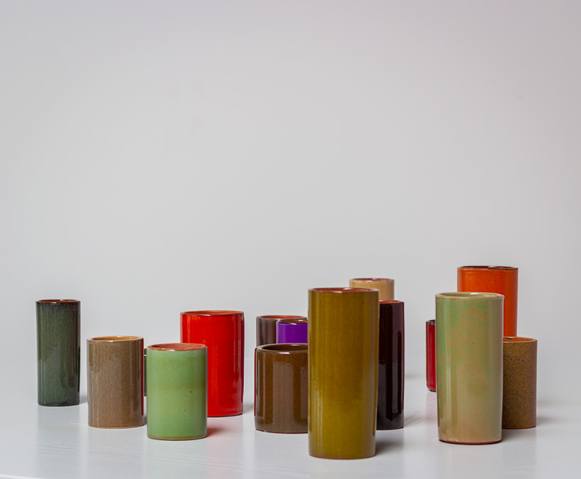 Collection of 16 ceramic cylinder vases 1960 img 3