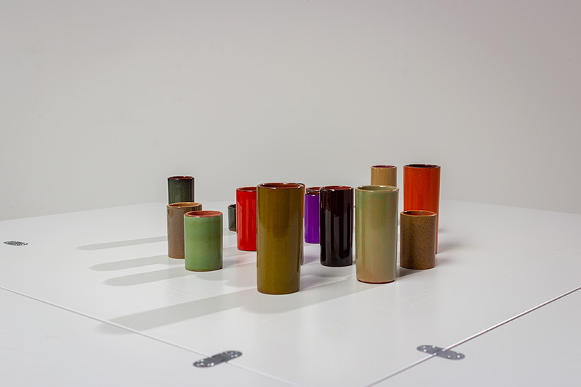 Collection of 16 ceramic cylinder vases 1960 img 5