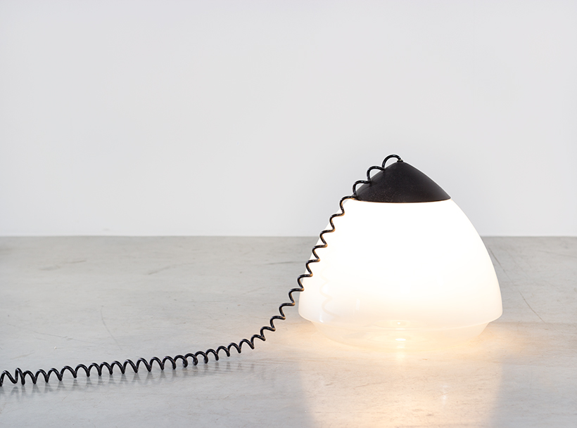 Conical floor lamp white and clear glass Barbini circa 1970 img 4