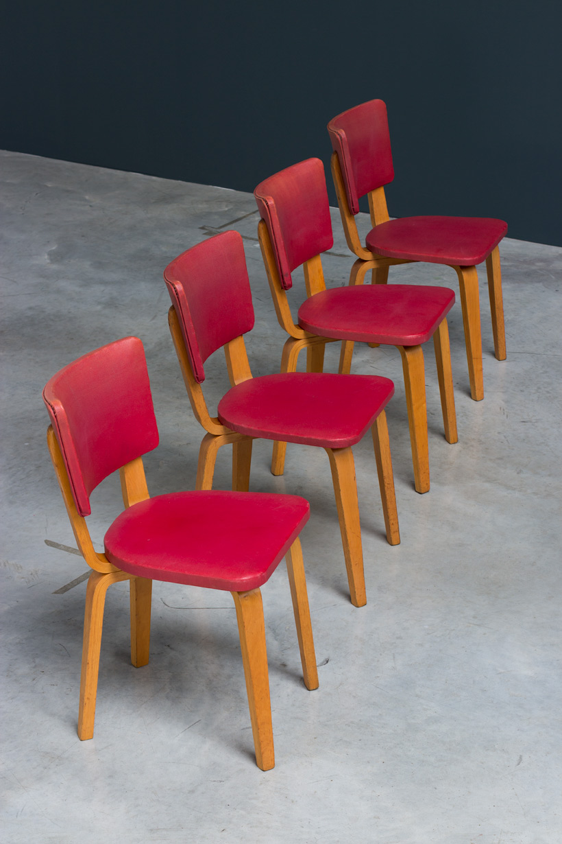 Cor Alons 4 multiplex plywood dinning chairs De Boer