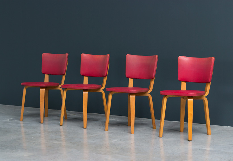 Cor Alons 4 multiplex plywood dinning chairs De Boer Large