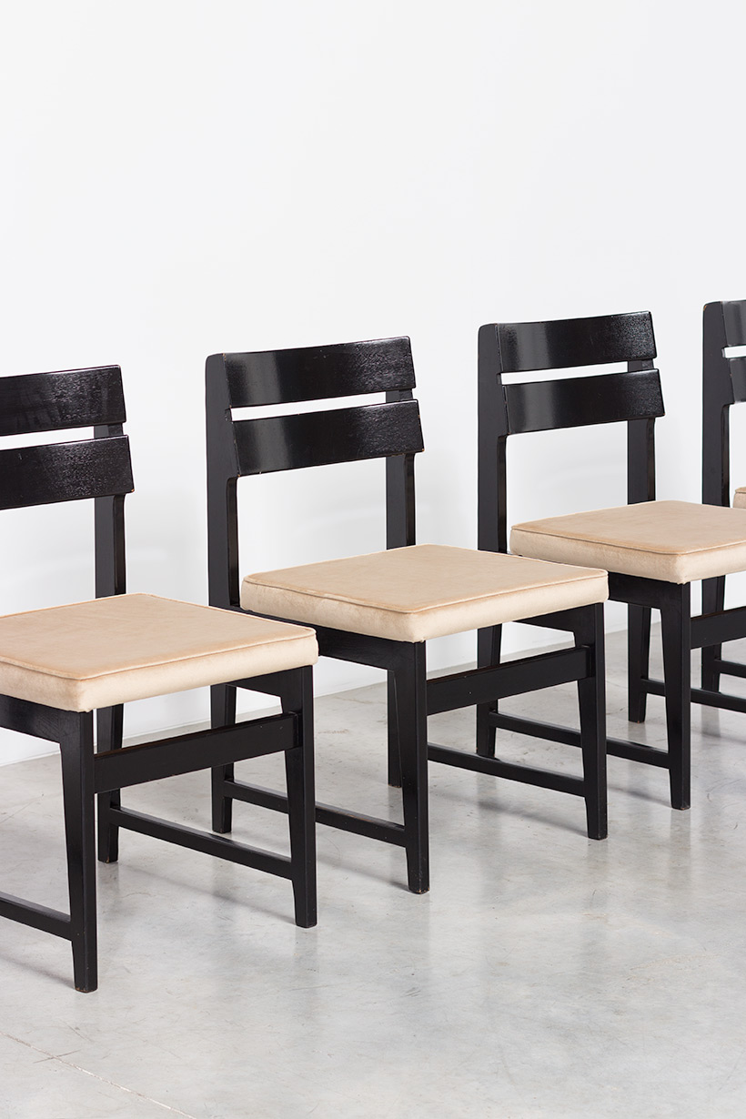 Cubist dining chairs set of six Belgium made circa 1950