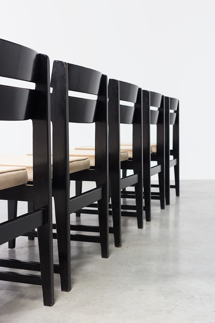 Cubist dining chairs set of six Belgium made circa 1950 img 6