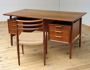 Danish modern teak mid century office desk Gunni Omann for Omann Jun