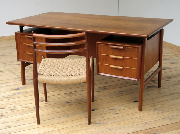 Danish modern teak mid century office desk Gunni Omann for Omann Jun