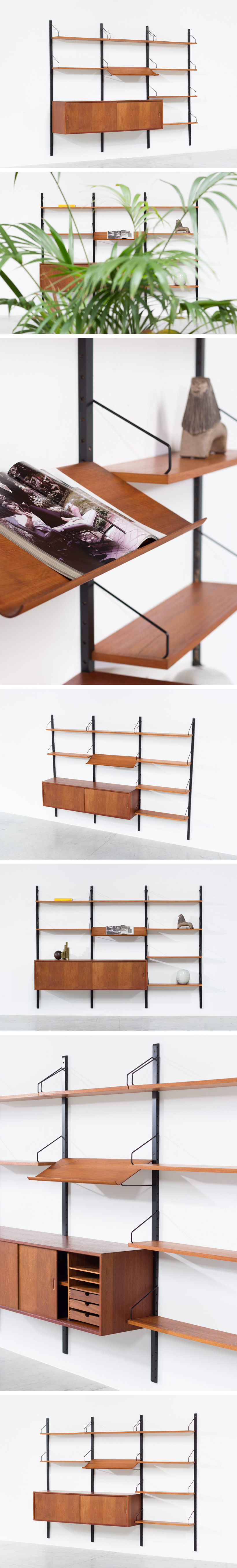 Danish Modern teak wall unit by Poul Cadovius Royal System Large