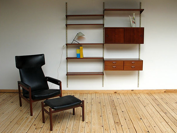 Danish modern teak wall unit eames era