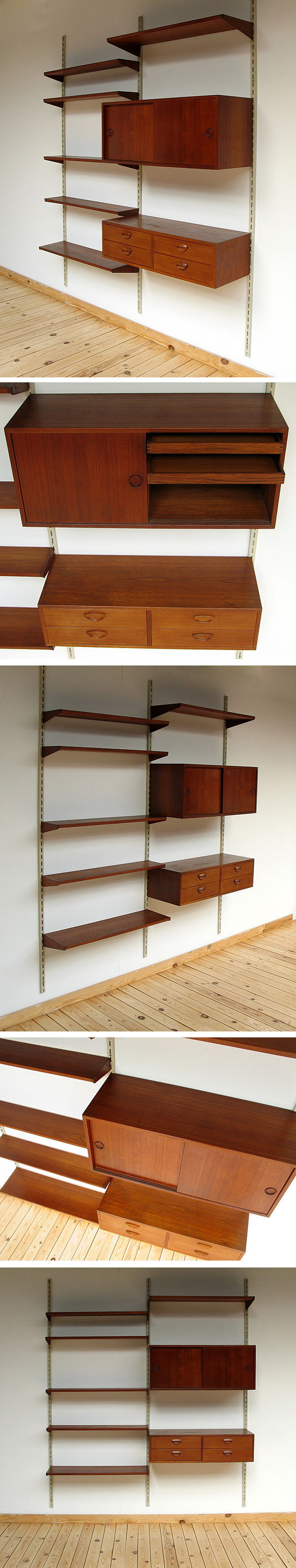 Danish modern teak wall unit eames era Large