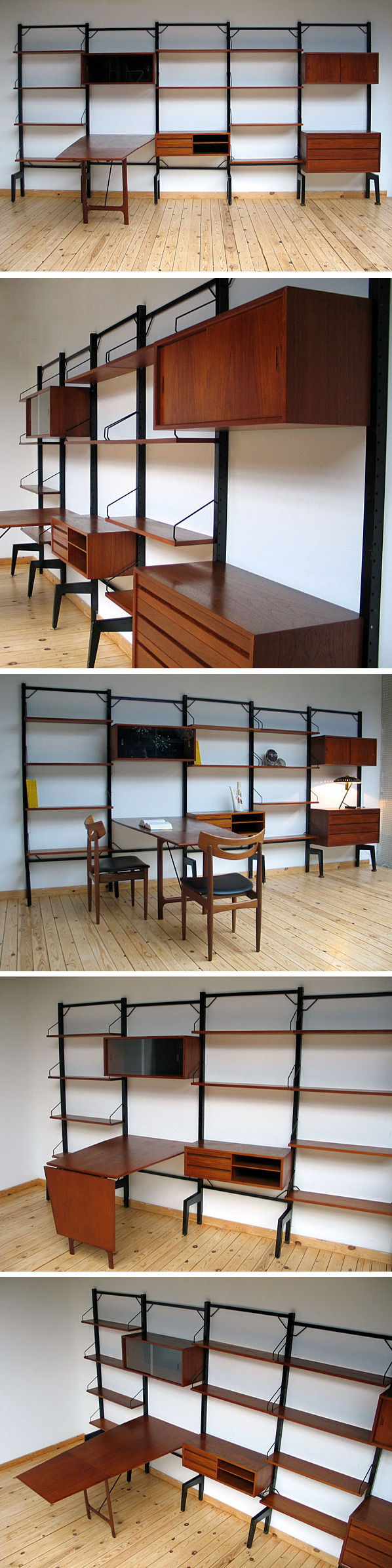 Danish modern wall unit ROYAL SYSTEM Design Poul Cadovius Large
