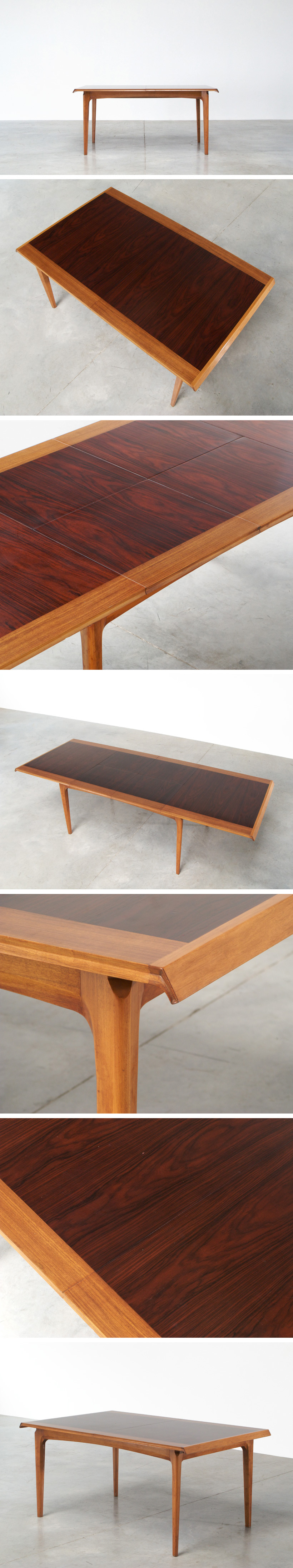 De Coene Madison dinning table rosewood and walnut 1958 Large