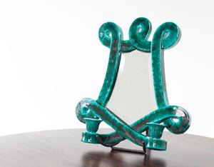 Decorative ceramic mirror by Giraud Vallauris France 1960