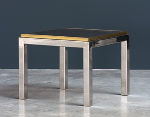 Decorative chrome and brass square side table