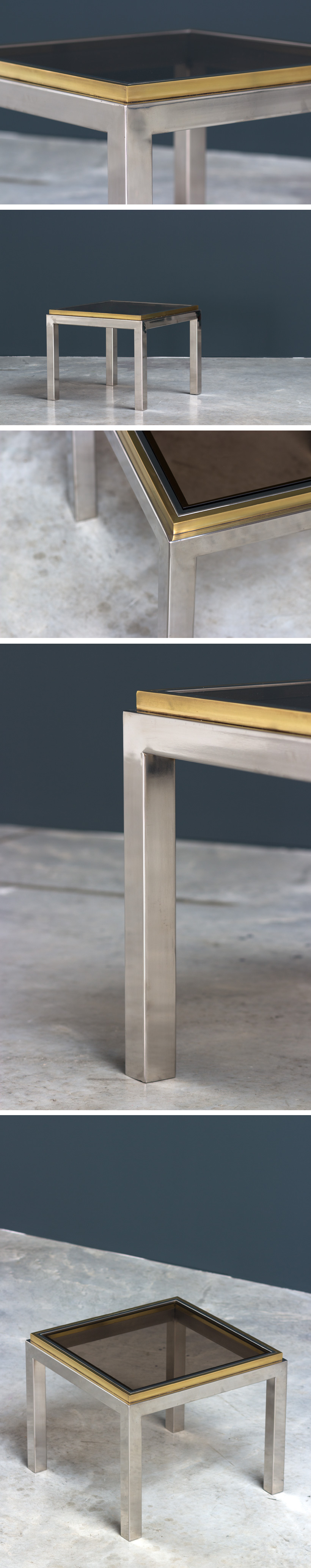 Decorative chrome and brass square side table Large